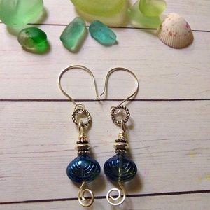 Blue Glass Clamshell & Silver Earrings
